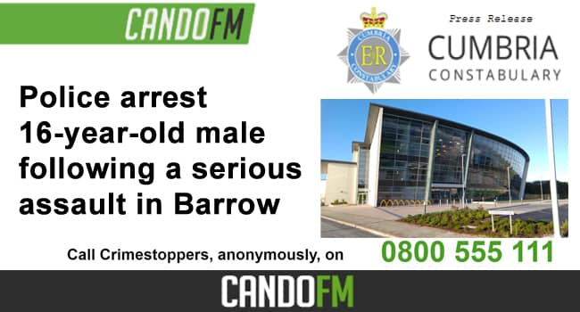 Police arrest a 16-year-old male following a serious assault in Barrow